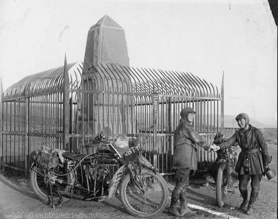 A 1916 photo shows Adeline and Augusta Van Buren at the U.S.-Mexico border during their cross-country motorcycle trip. A tribute ride retracing their path begins Sunday in Brooklyn. Photo: HONS, Associated Press