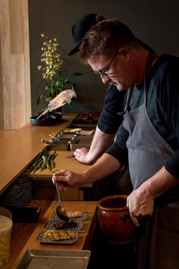 Chef Curtis Di Fede plates yakitori at Miminashi in Napa. Photo: John Storey, Special To The Chronicle