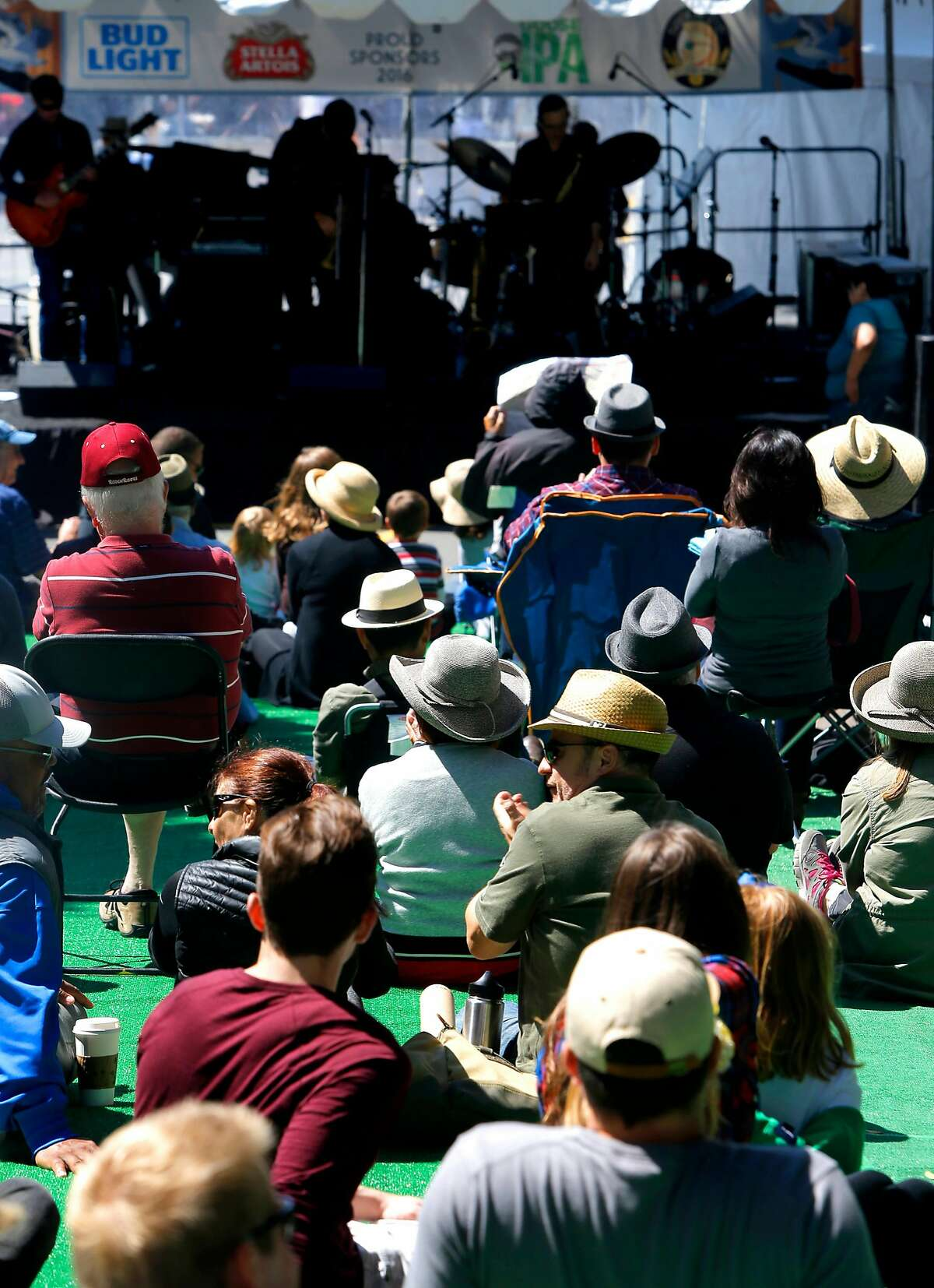 Crowds listen to the music of the Sheldon Brown Group at the Fillmore Jazz Festival on Sat. July 2, 2016, in San Francisco, California.