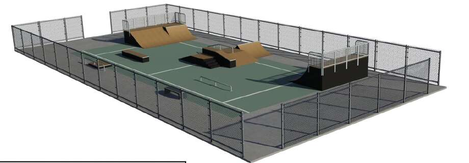 An artist rendering of a proposed skate  park for the City of Orange
