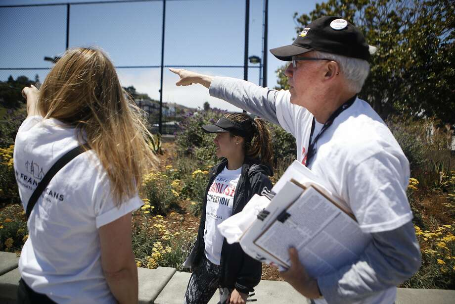 Adele Anfinson, Layla Cavalcante and David Brenlinger begin to plan how to get signatures on Saturday, July 2, 2016 at Mission Dolores Park in San Francisco, California. This ballot measure is looking to protect the San Francisco Tennis Club, which is slated to be replaced by office buildings, a smaller recreation facility, and some affordable housing. Photo: Michael Noble Jr., The Chronicle