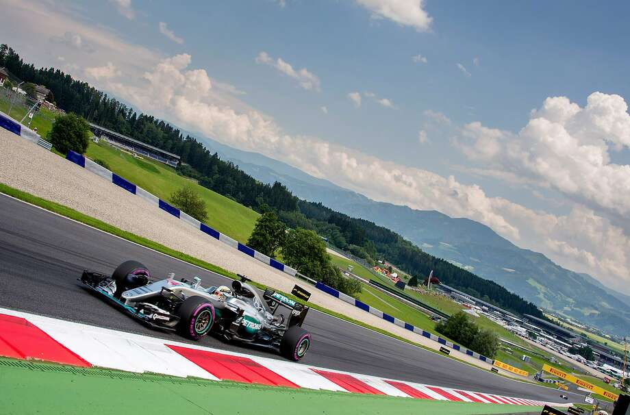 Mercedes driver Lewis Hamilton goes through his qualifying run at at the Red Bull Ring in Spielberg, Austria. Photo: JOE KLAMAR, AFP/Getty Images