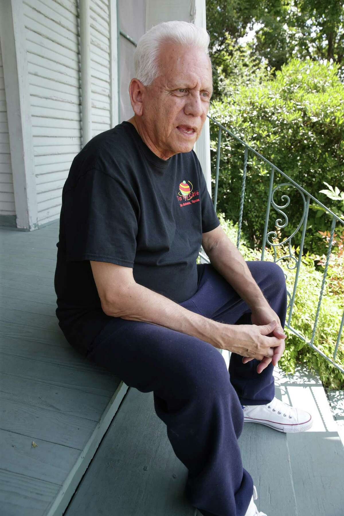 Gregg Barrios, a Vietnam veteran, recalls how was engaged in transporting wounded soldiers as he sits on his front porch in San Antonio on July 1, 2016.