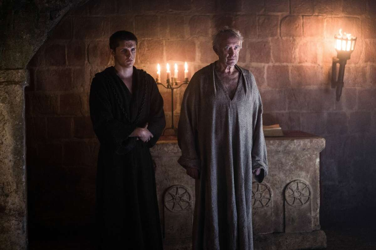 HIGH SPARROW In the series, the High Sparrow dies when Cersei blows the Great Sept up with wildfire. In the books, he's alive and well and has just forced Cersei to do her walk of shame through King's Landing.