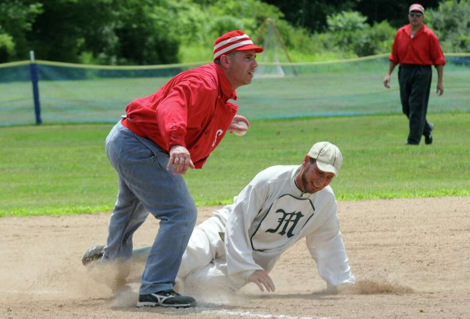 The Bethlehem Braves and visiting New York Mutuals face off in a game of vintage baseball at Elm Ave Town Park on Thursday July 4, 2013 in Bethlehem, N.Y. (Michael P. Farrell/Times Union) Photo: Michael P. Farrell / 10022826A