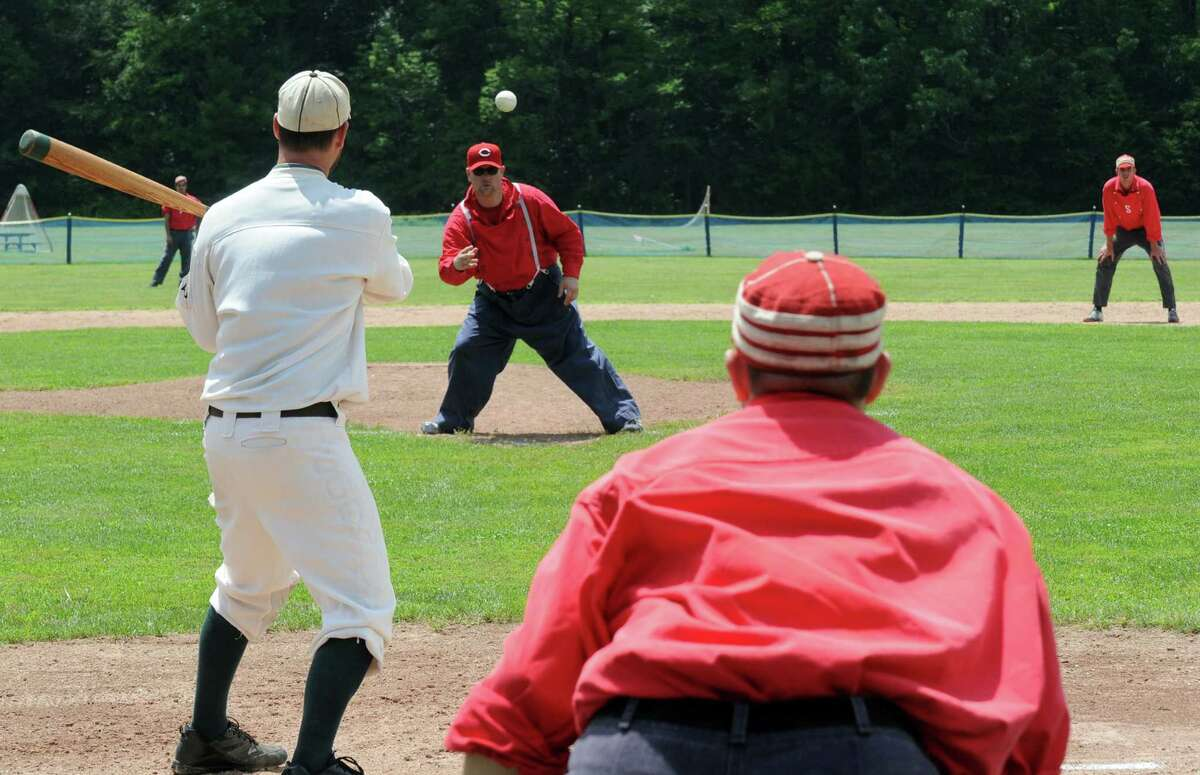 The Bethlehem Braves and visiting New York Mutuals face off in a game of vintage baseball at Elm Ave Town Park on Thursday July 4, 2013 in Bethlehem, N.Y. (Michael P. Farrell/Times Union)