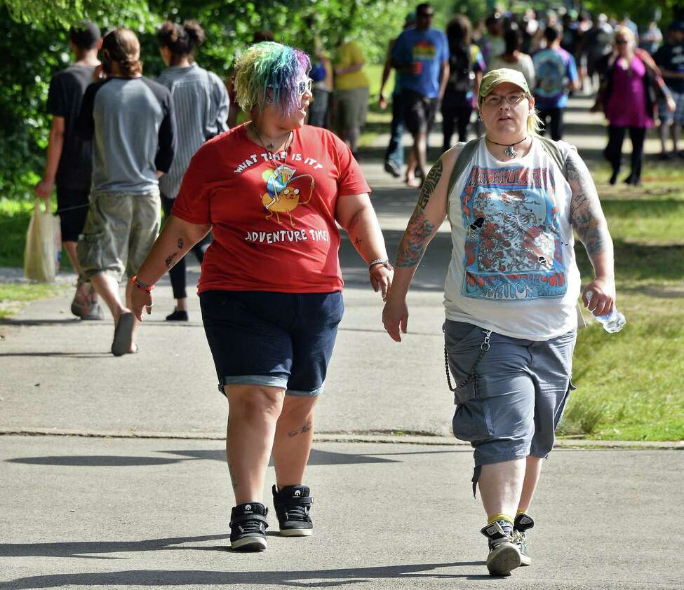 Merrily Owens, left, of Saratoga Springs and Kerri Yurschak of Mechanicville arrive for the Phish concert at SPAC Saturday July 2, 2016 in Saratoga Springs, NY. (John Carl D'Annibale / Times Union)
