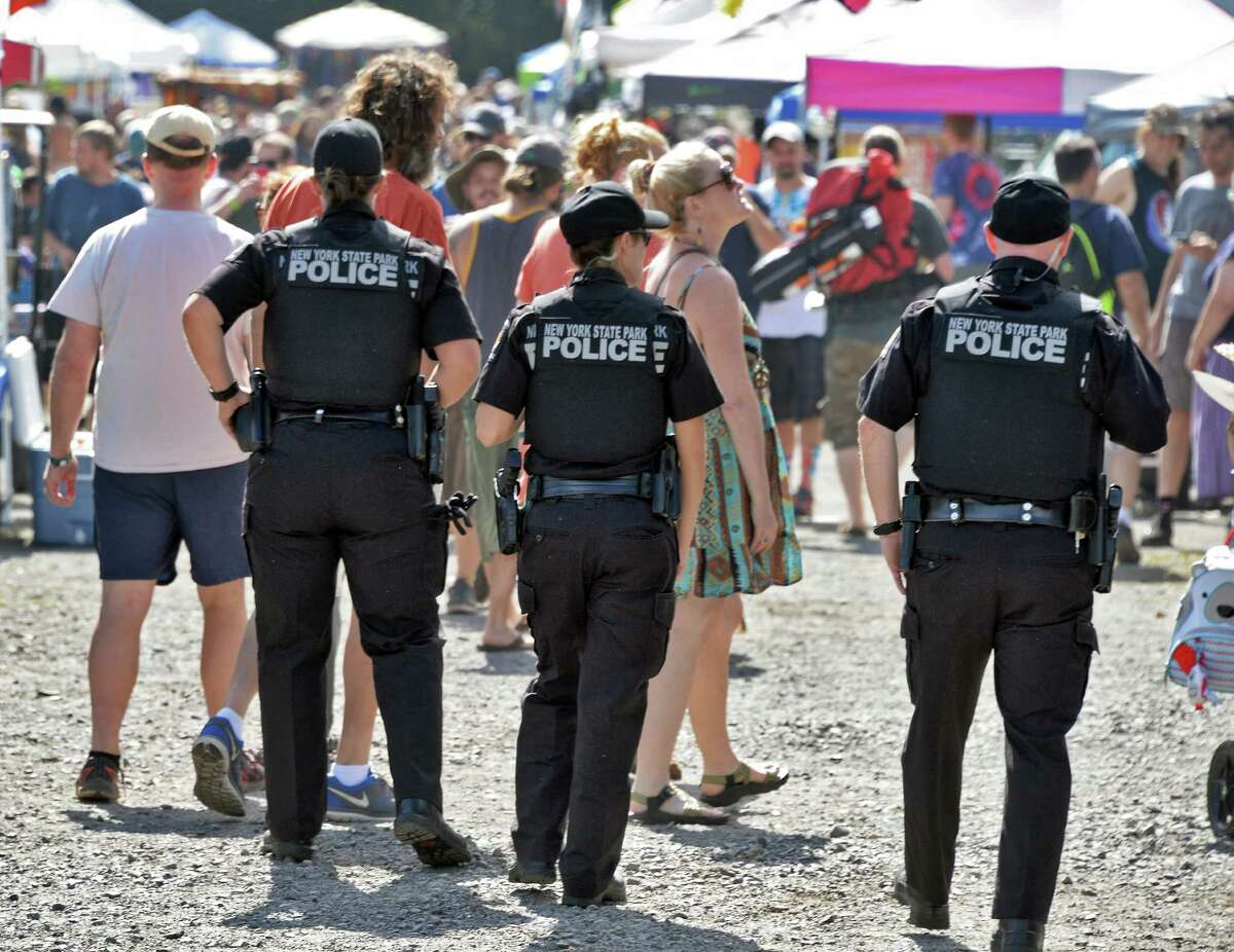 NYS Park Police patrols the vendor area at SPAC before the Phish concert Saturday July 2, 2016 in Saratoga Springs, NY. (John Carl D'Annibale / Times Union)