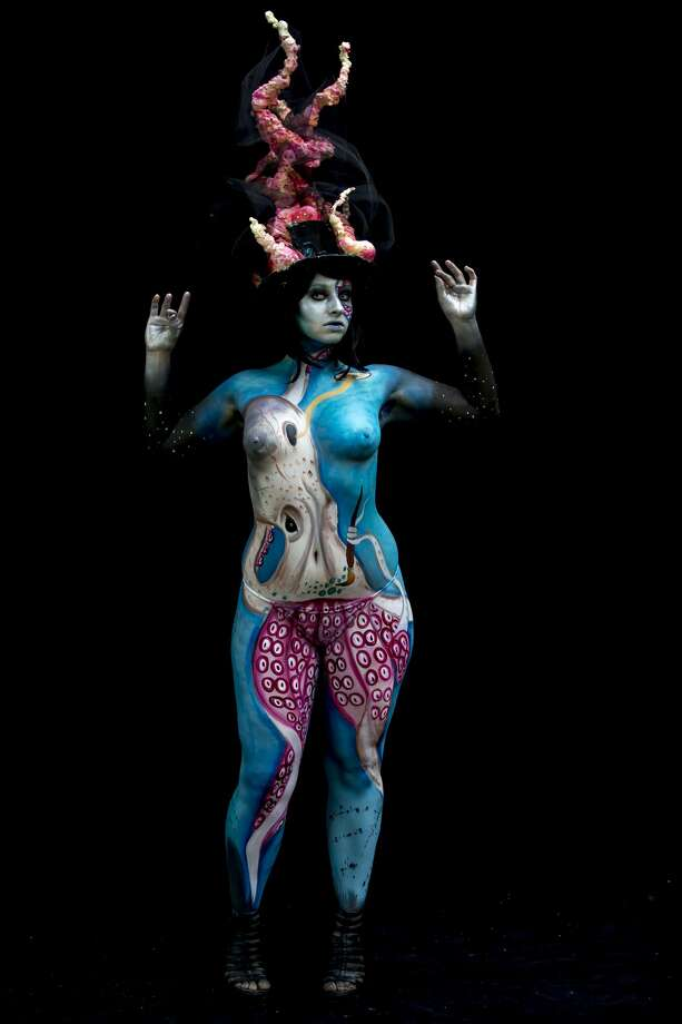 A model poses for a picture during the World Bodypainting Festival 2016 on July 1, 2016 in Poertschach am Woerthersee, Austria. (Photo by Jan Hetfleisch/Getty Images) Photo: Getty Images)