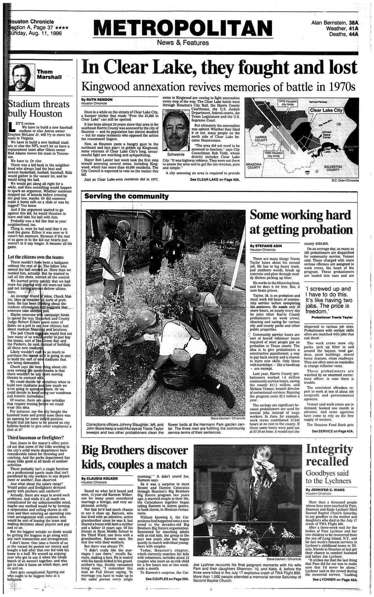 August 11, 1996 - section A, page 37. In Clear Lake, they fought and lost. Kingwood annexation revives memories of battles in the 1970s