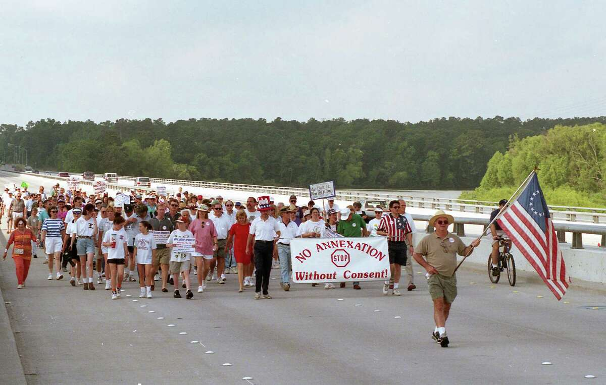 Kingwood residents rallied at a Kingwood park on May 18, 1996, to protest annexation by Houston. Houston has essentially stopped annexing populated areas since the Kingwood controversy.