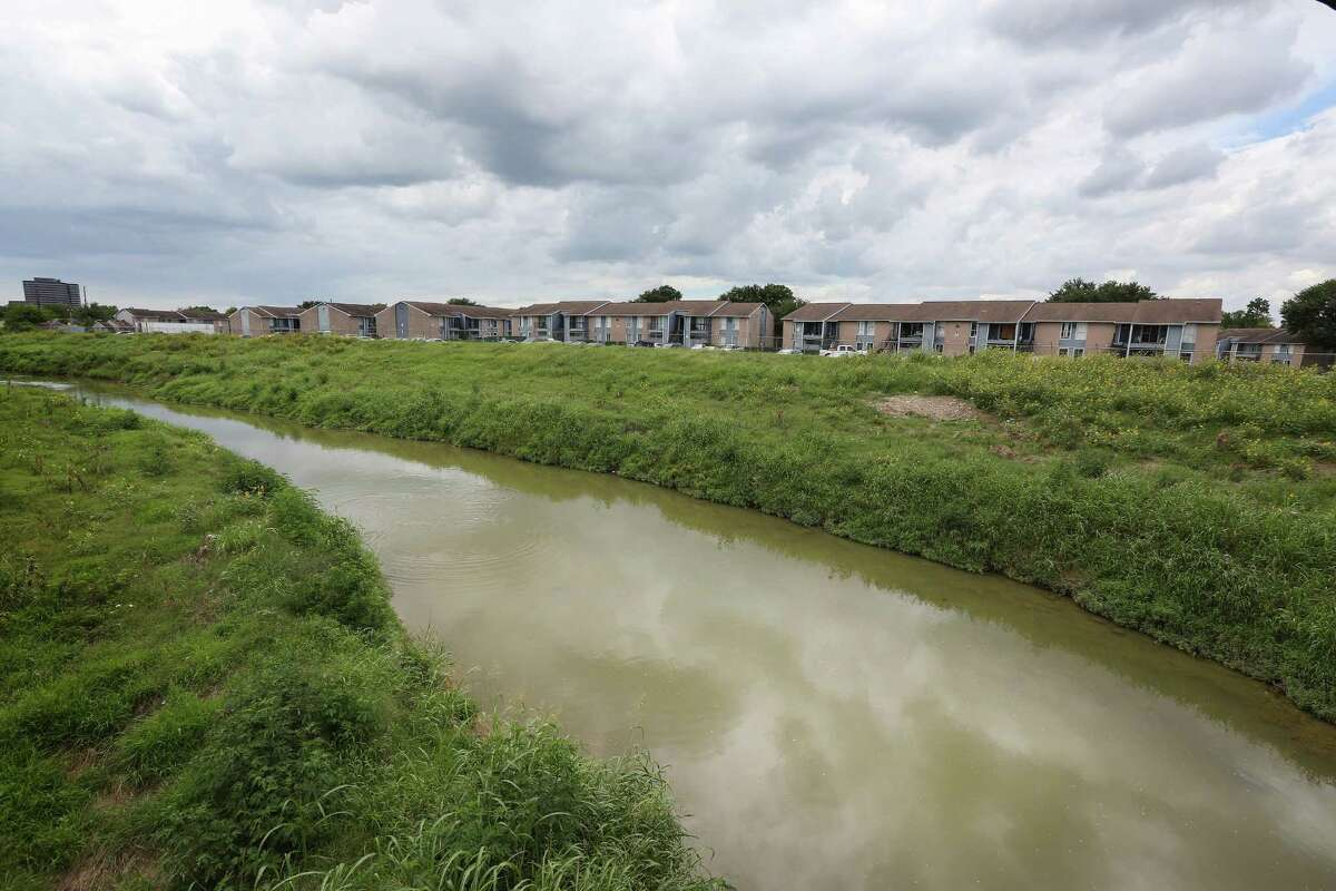 Subsidized by the Department of Housing and Urban Development, the 232-unit Arbor Court sits next to Greens Bayou in the floodplain.