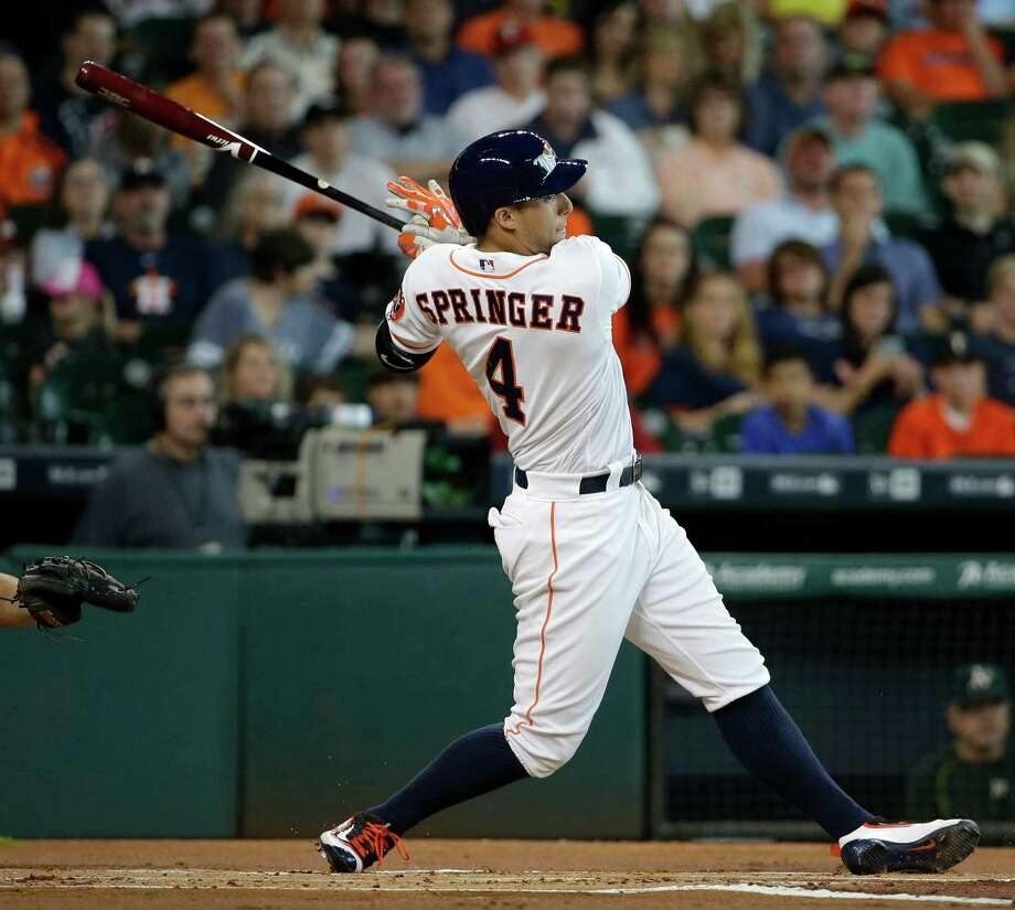 Springer, who has the most text ballot votes through the second update, leads the five remaining candidates in home runs (19), walks (46) and WAR (3.5). Photo: Melissa Phillip, Staff / © 2016 Houston Chronicle