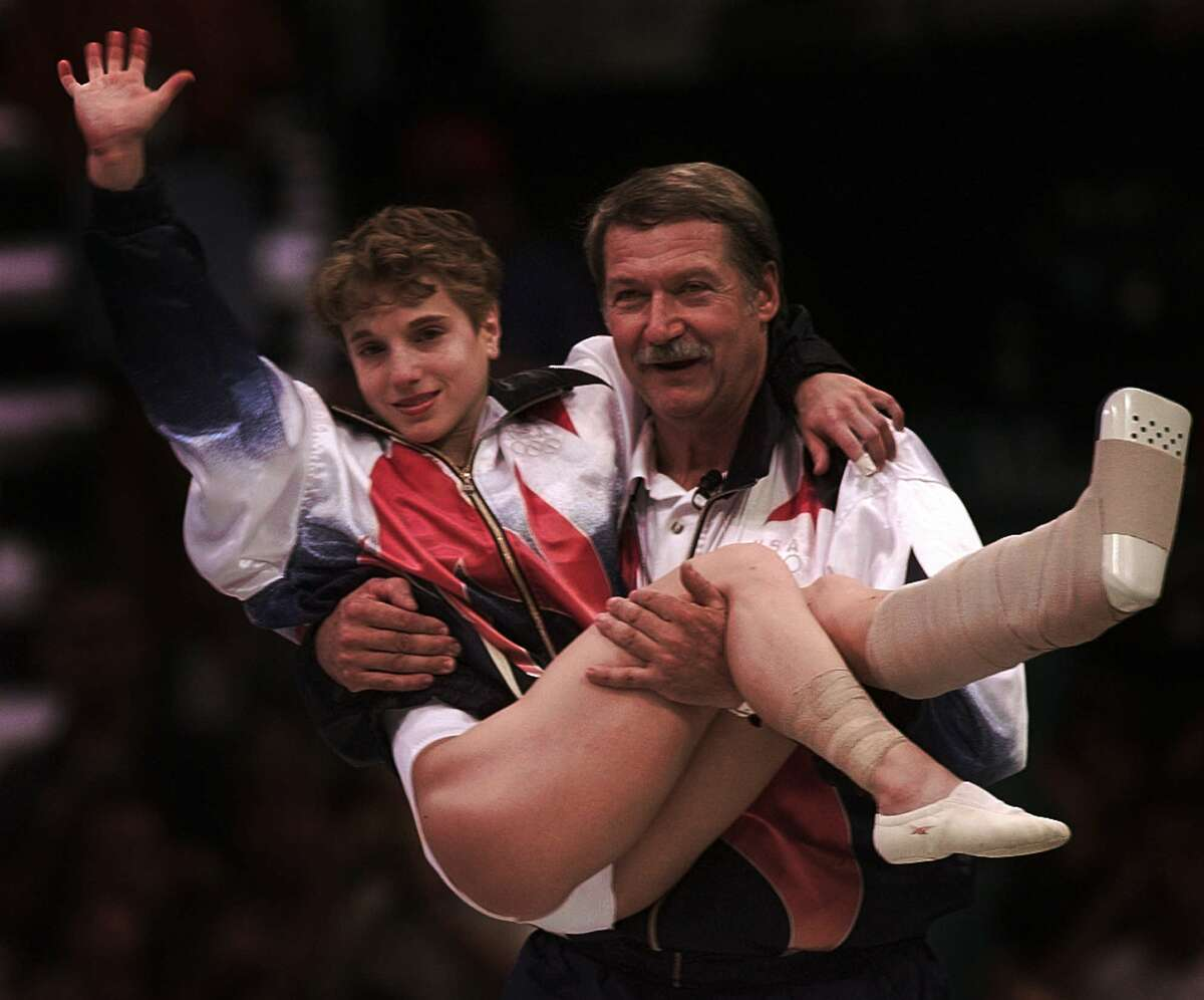 """Arizona - Kerri Strug Strug is an Arizona native, but she moved to Texas to train with coach Bela Karolyi. In 1992, at 14-years-old, she was the youngest person to qualify for the Olympics. Strug was part of the 1996 U.S. women's gymnastics team, nicknamed """"The Magnificent Seven."""" That year she became a sports hero when she performed a jump even after injuring her ankle. Read more at Fansided"""
