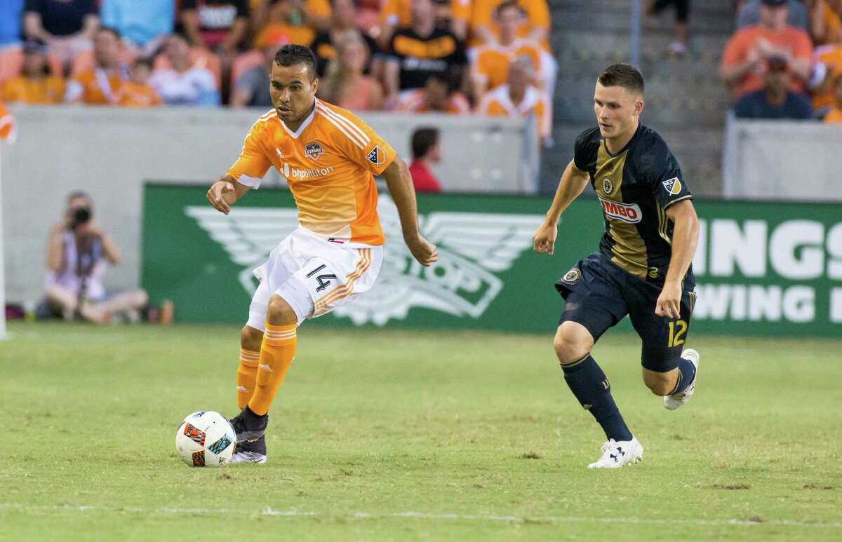 Houston Dynamo midfielder Alex (14) has control of the ball against Philadelphia Union defender Keegan Rosenberry (12) during the first half of action between the between the Houston Dynamo and the Philadelphia Union during an MLS soccer game at BBVA Compass, Saturday, July 02, 2016, in Houston. (Juan DeLeon/for the Houston Chronicle )