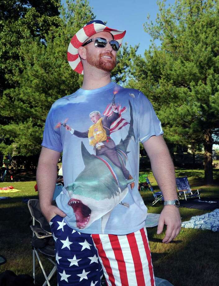 Bobby Bailey of Greenwich and his All-American outfit during the Town of Greenwich 4th of July fireworks display and celebration at Binney Park in Old Greenwich, Conn., Saturday night, July 2, 2016. Photo: Bob Luckey Jr. / Hearst Connecticut Media / Greenwich Time