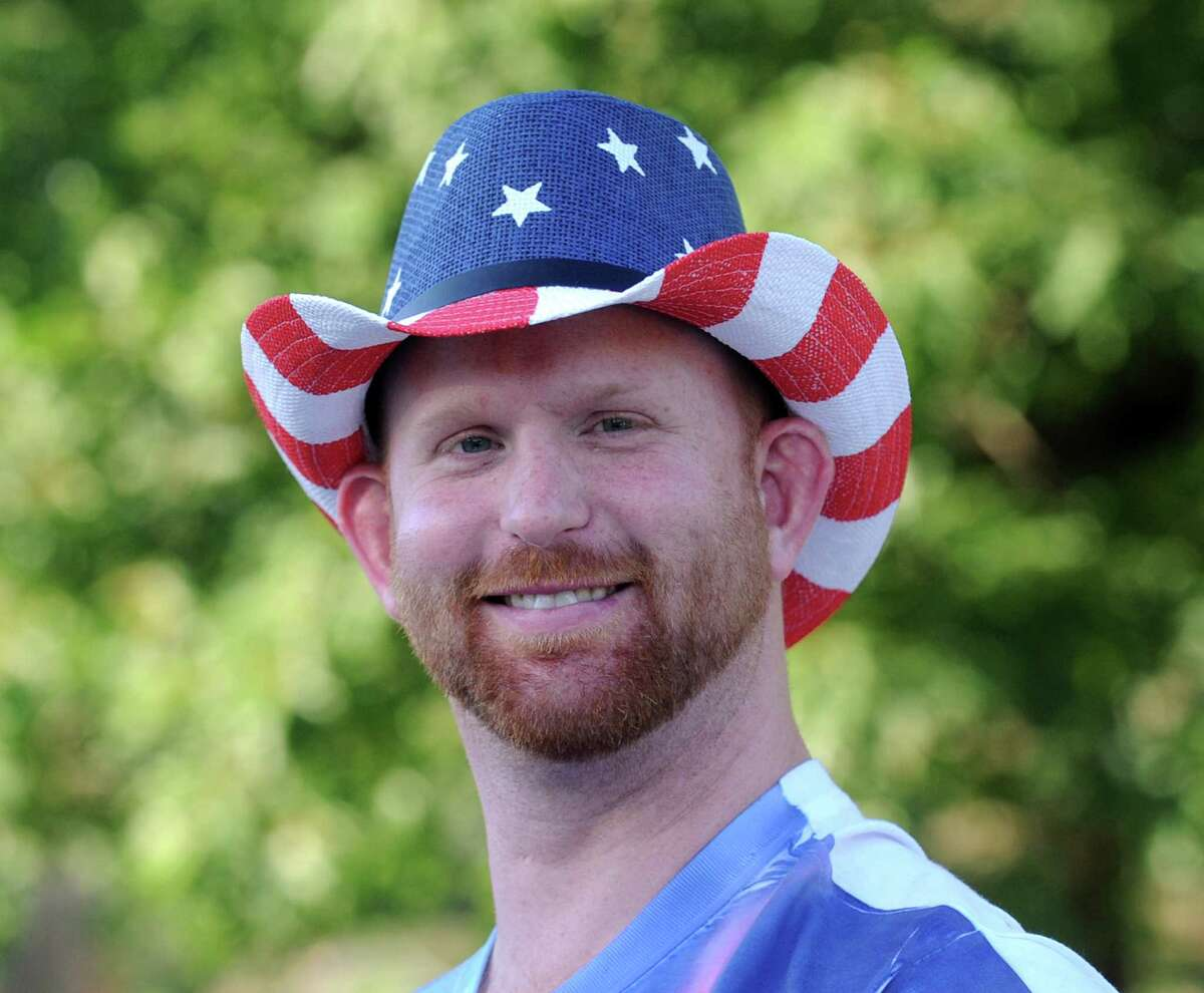 Bobby Bailey of Greenwich and his All-American hat during the Town of Greenwich 4th of July fireworks display and celebration at Binney Park in Old Greenwich, Conn., Saturday night, July 2, 2016.