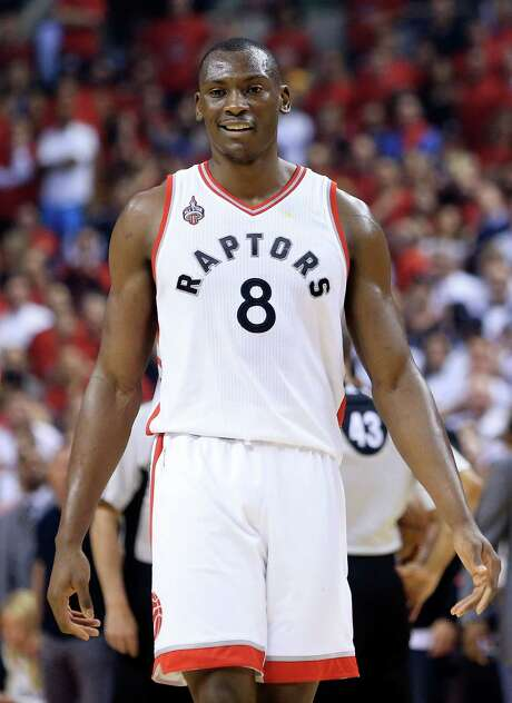 TORONTO, ON - MAY 27:  Bismack Biyombo #8 of the Toronto Raptors reacts after being called for a foul against the Cleveland Cavaliers in the first quarter in game six of the Eastern Conference Finals during the 2016 NBA Playoffs at Air Canada Centre on May 27, 2016 in Toronto, Canada. NOTE TO USER: User expressly acknowledges and agrees that, by downloading and or using this photograph, User is consenting to the terms and conditions of the Getty Images License Agreement.  (Photo by Vaughn Ridley/Getty Images) Photo: Vaughn Ridley, Stringer / 2016 Getty Images
