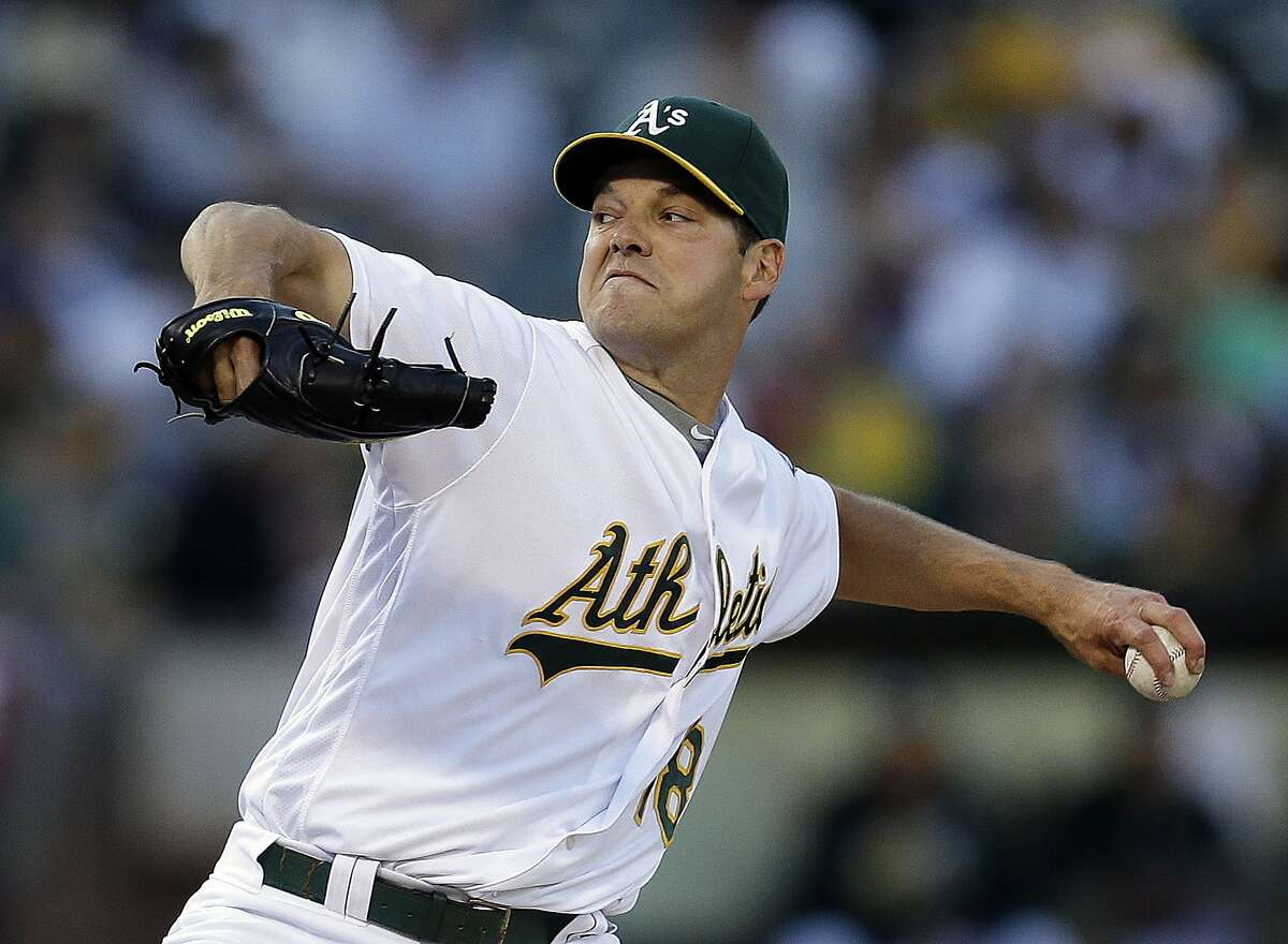 Oakland Athletics pitcher Rich Hill works against the Pittsburgh Pirates during the first inning of a baseball game Saturday, July 2, 2016, in Oakland, Calif. (AP Photo/Ben Margot)