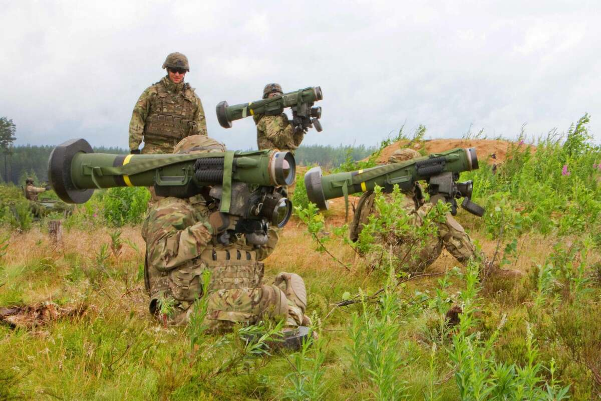 Left to right: Army Cpl. Andrew Hernandez, Spc. Michael Chavez, and Spc. Blane Emory prepare to fire javelin anti-tank missiles downrange while their squad leader, Army Sgt. Stephen Morris looks on during Saber Strike 16 in Tapa, Estonia, June 20, 2016. Hernandez is a cavalry scout, Chavez is a gunner, Emory is a cavalry scout and Morris is a squad leader assigned to the 2nd Cavalry Regiment.