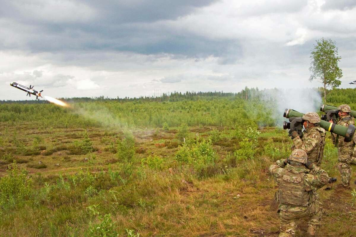 Army Spc. Jose Enriquez fires a Javelin Anti-Tank Missile down range during Saber Strike 16 in Tapa, Estonia, June 19, 2016. Saber Strike is a U.S. Army Europe-led training exercise to improve interoperability among the 13 participating nations.