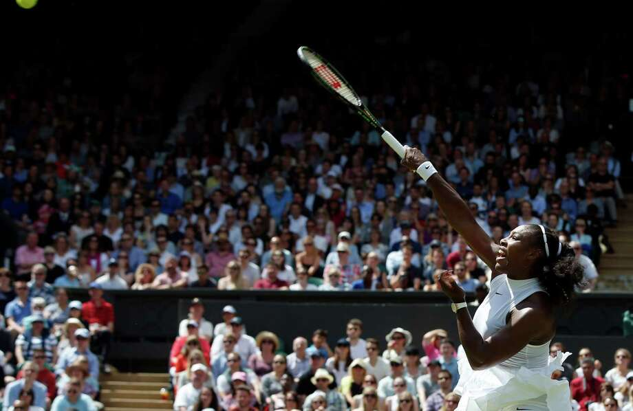 Six-time Wimbledon champion Serena Williams needed just 51 minutes to beat Germany's Annika Beck on Sunday and join Martina Navratilova as the only women with 300 wins at major tournaments in the Open era. Photo: Alastair Grant, STF / Copyright 2016 The Associated Press. All rights reserved. This material may not be published, broadcast, rewritten or redistribu