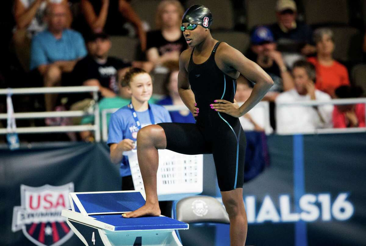 Simone Manuel prepares for her preliminary heat in the women's 50m freestyle, during the U.S. Olympic Trials at the CenturyLink Center in Omaha, Neb. July 2, 2016. Manuel posted the second-best time of 180 entrants; semifinals are tonight and finals will be held Sunday. (Doug Mills/The New York Times)