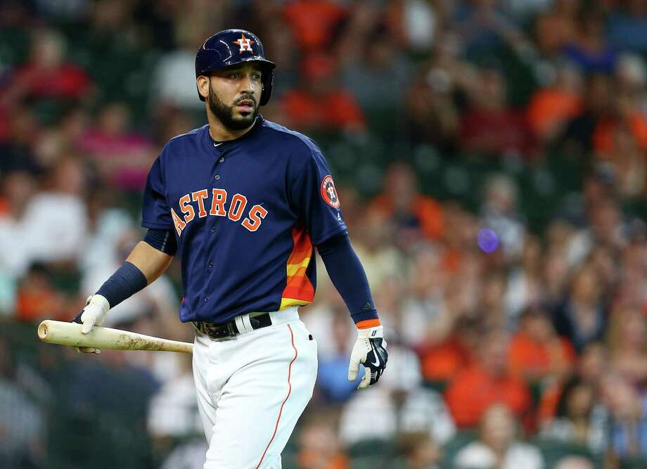 Houston Astros first baseman Marwin Gonzalez (9) walks back to the dugout after he struck out swinging during the first inning of an MLB game at Minute Maid Park, Sunday, July 3, 2016, in Houston.  ( Jon Shapley / Houston Chronicle ) Photo: Jon Shapley, Staff / © 2015  Houston Chronicle