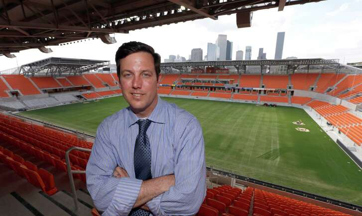 ADVANCE FOR WEEKEND EDITIONS, MAY 12-13 - This April 27, 2012 photo shows Houston Dynamo President of Business Operations Chris Canetti posing inside the Houston Dynamo's new stadium, in Houston The Dynamo's first home game in the the new 22,000 seat BBVA Compass Stadium is May 12th. (AP Photo/David J. Phillip)