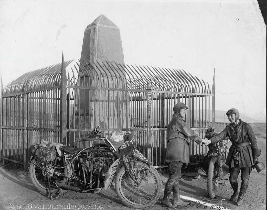 This 1916 photo provided Dan Ruderman shows Adeline and Augusta Van Buren at the United States/Mexico border during their cross-country motorcycle trip. A century ago, when the automobile was in its infancy and most roads in the United States weren't paved, the intrepid sisters from Brooklyn embarked on a remarkable journey, a 4,000-mile trek across the country, aboard two Indian motorcycles. (Courtesy of Dan Ruderman via AP) ORG XMIT: NYMG201 Photo: HONS / Dan Ruderman