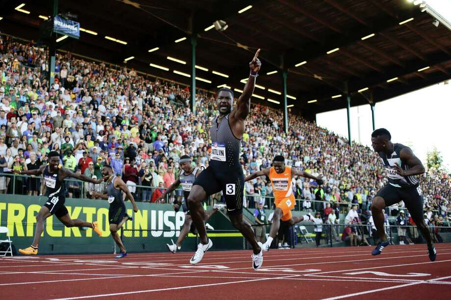 Justin Gatlin is No. 1 in the men's 100-meter final at the U.S. Olympic Trials on Sunday. Gatlin edged second-place finisher Trayvon Bromell, far left, who formerly competed at Baylor. Photo: Matt Slocum, STF / AP