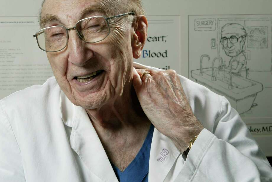 4/2/04--Heart specialist Dr. Michael DeBakey, 95, talks with the Houston Chronicle Friday afternoon, April 2, 2004, in Houston.  (Kevin Fujii/Chronicle) Photo: Kevin Fujii, Staff Photographer / Houston Chronicle