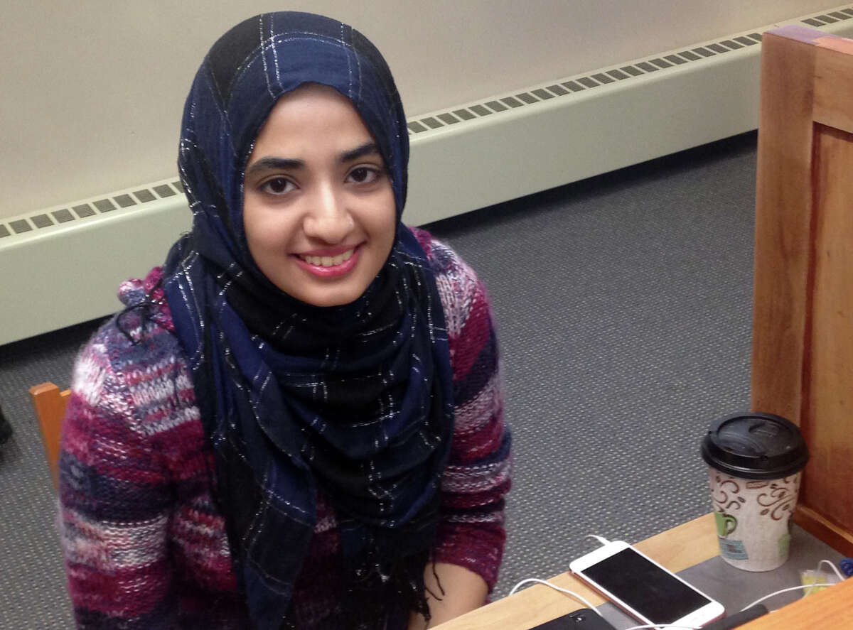 """Sumra Akhlaq, a senior biochemistry student at Western Connecticut State Unversity from Danbury, Conn. In response to a new college affordability study, Akhlaq said """"Debt really limits you. It doesn't allow you to reach your full potential."""""""