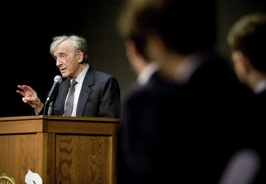 Nobel laureate Elie Wiesel speaks to students at Brunswick School in Greenwich in 2009. Photo: Hearst Connecticut Media File Photo