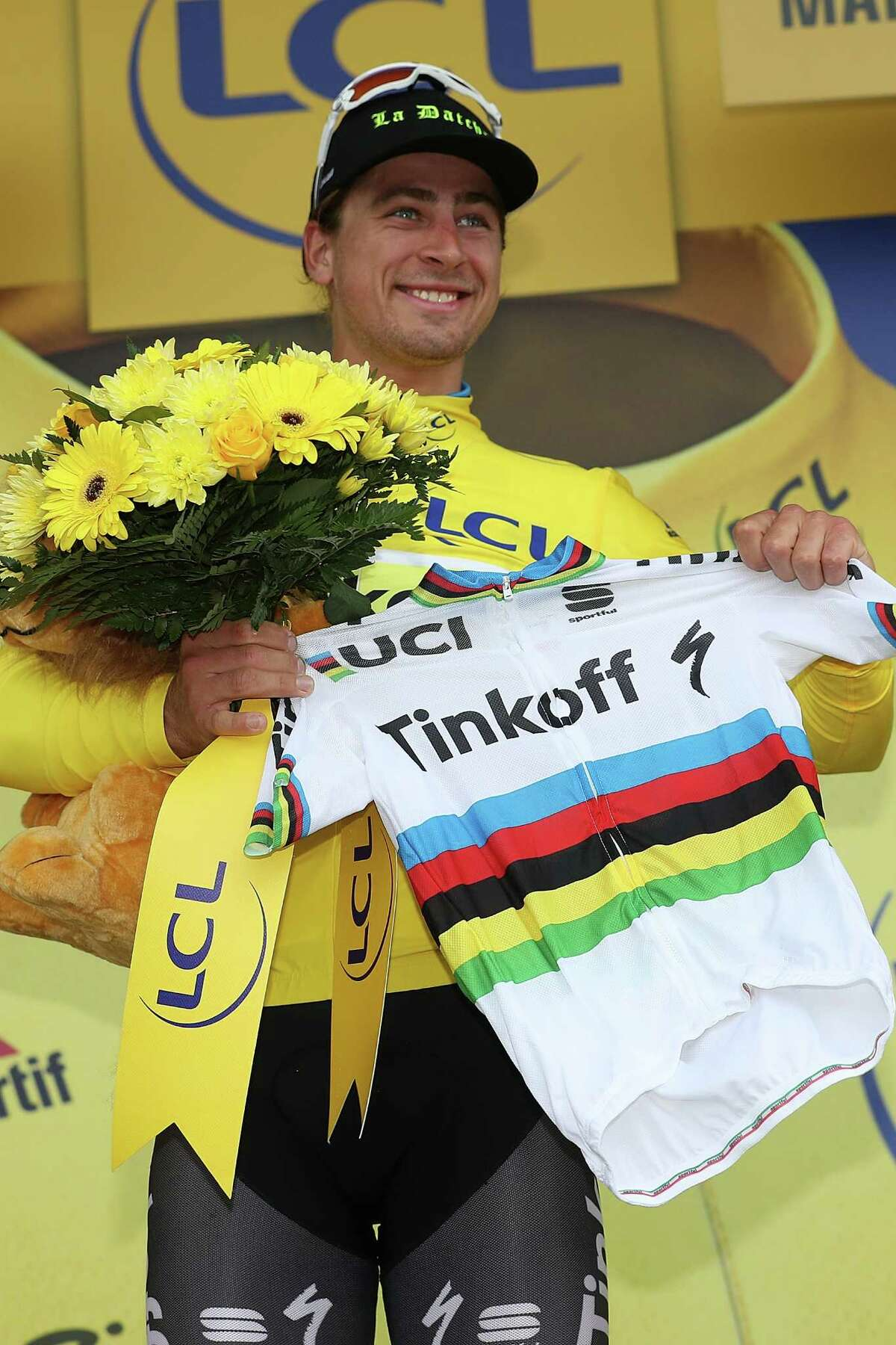 CHERBOURG, FRANCE - JULY 03: Peter Sagan of Slovakia riding for Tinkoff celebrates after winning stage two and taking the yellow leader's jersey during stage two of the 2016 Le Tour de France a 183km stage from Saint-L to Cherbourg-en-Cotentin at on July 3, 2016 in Cherbourg, France. (Photo by Chris Graythen/Getty Images) ORG XMIT: 645212543