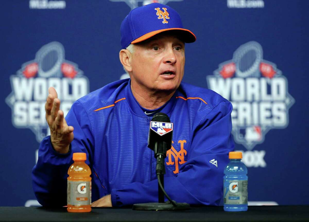 New York Mets manager Terry Collins talks during a news conference before Game 5 of the Major League Baseball World Series against the Kansas City Royals Sunday, Nov. 1, 2015, in New York. (AP Photo/Frank Franklin II) ORG XMIT: WS304
