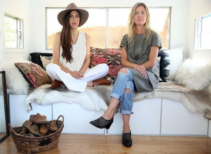 Cofounders and shoe designers Cristina Palomo-Nelson (left) and Megan Papay (right) of Freda Salvador show their vintage trailer on Thursday, June 30, 2016, in Sausalito, Calif.