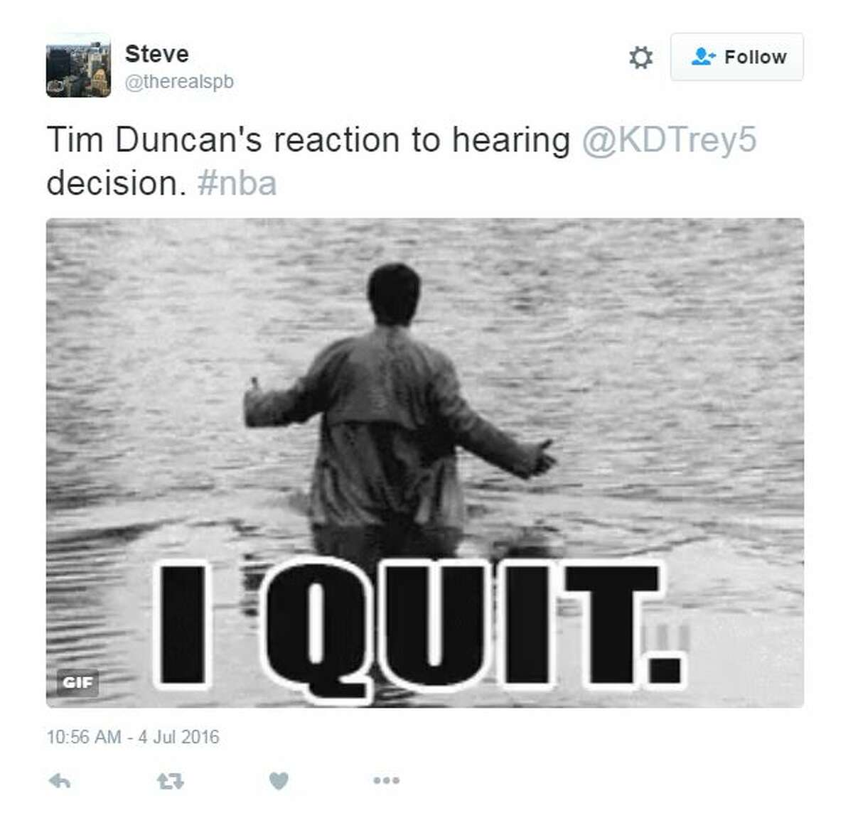 NBA Twitter kicked off the 4th of July with fireworks, announcing Kevin Duran's decision to take his talents to Golden State, followed by the probable retirement of Tim Duncan.