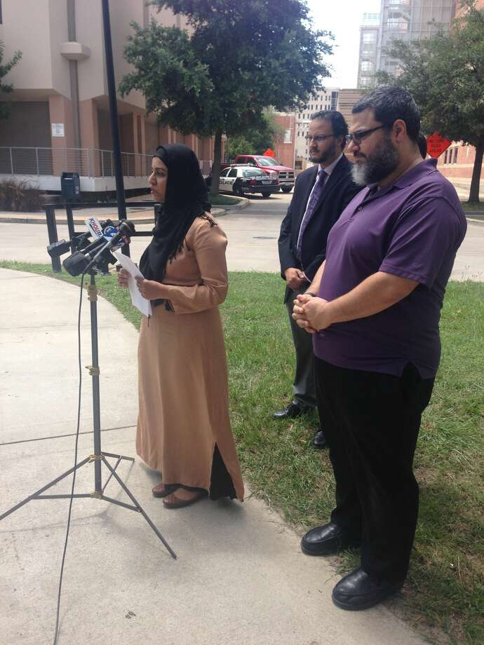 A Houston man shot Sunday morning near the Madrasah Islamiah mosque remained in the hospital Monday but was recuperating well, his wife said. Arslan Tajammul, a 30-year-old optometrist, was shot about 5:30 a.m. Sunday around the corner from the southwest Houston mosque, during what police said appeared to be an attempted robbery. His wife, Syeda Bokhari, spoke Monday at a press conference outside Ben Taub Hospital. Photo: Rebecca Elliott / Houston Chronicle