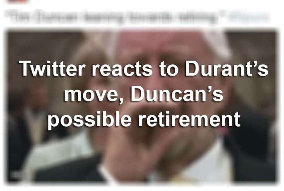 NBA Twitter kicked off the 4th of July with fireworks, announcing Kevin Duran's decision to take his talents to Golden State, followed by the probable retirement of Tim Duncan.Here are social media's best reactions. Photo: Twitter