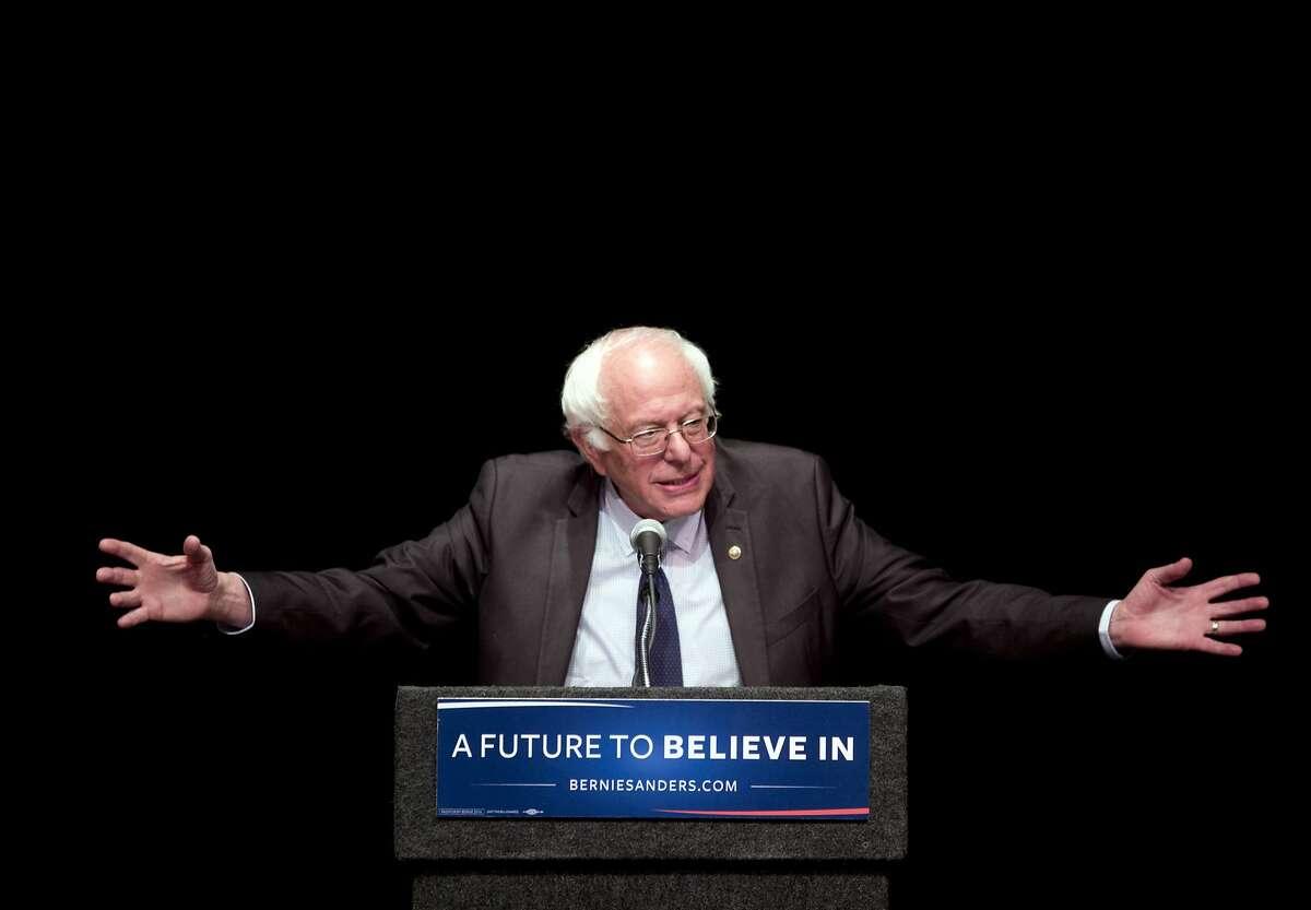Democratic presidential candidate Sen. Bernie Sanders, I-Vt., delivers his