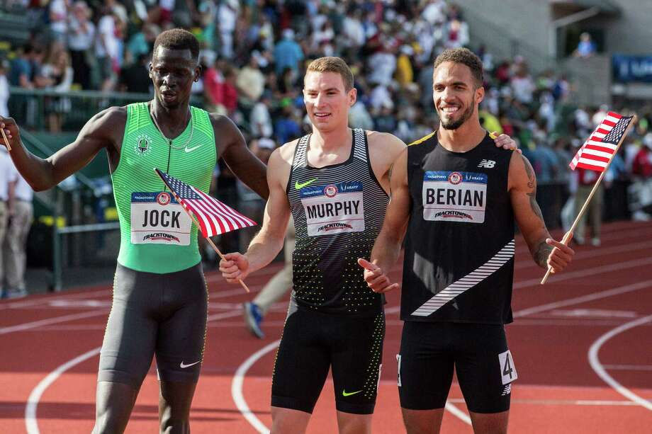 From left: Charles Jock, Boris Berian and Clayton Murphy after the final of the men's 800-meter event during the U.S. Olympic track and field trials in Eugene, Ore., July 4, 2016. Murphy finished first with Berian taking second and Jock third. (Andrew Burton/The New York Times) ORG XMIT: XNYT151 Photo: ANDREW BURTON / NYTNS