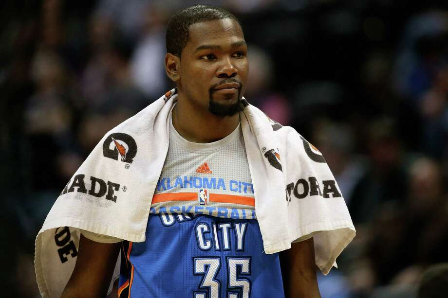 DENVER, CO - APRIL 5:  Kevin Durant #35 of the Oklahoma City Thunder looks on from the bench late in the game against the Denver Nuggets at Pepsi Center on April 5, 2016 in Denver, Colorado. The Thunder defeated the Nuggets 124-102. NOTE TO USER: User expressly acknowledges and agrees that, by downloading and or using this photograph, User is consenting to the terms and conditions of the Getty Images License Agreement. (Photo by Doug Pensinger/Getty Images) ORG XMIT: 575732227 Photo: Doug Pensinger / 2016 Getty Images