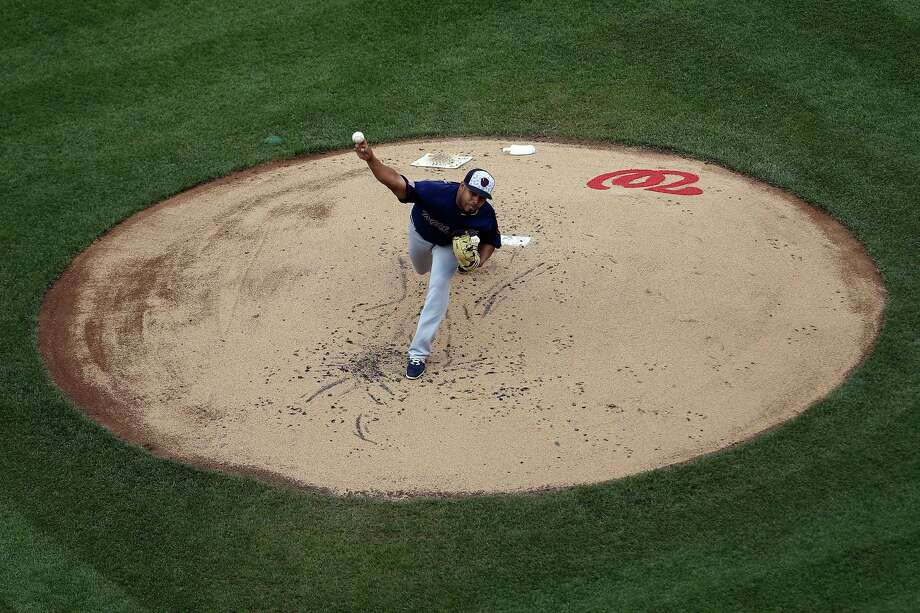 WASHINGTON, DC - JULY 4: Junior Guerra #41 of the Milwaukee Brewers works in the first inning against the Washington Nationals at Nationals Park on July 4, 2016 in Washington, DC. (Photo by Matt Hazlett/Getty Images) ORG XMIT: 607681081 Photo: Matt Hazlett / 2016 Getty Images