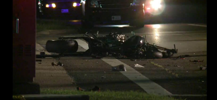 One person died when a motorcycle and pickup collided about 10 p.m. Monday, July 4, 2016, on Highway 6 near Ridge Park Drive in northwest Harris County. (Metro Video)