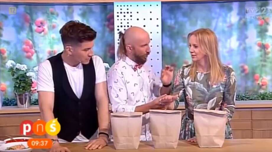 A Polish TV host was accidentally impaled by a nail during a magic trick that went wrong on live television. Photo: Courtesy/YouTube
