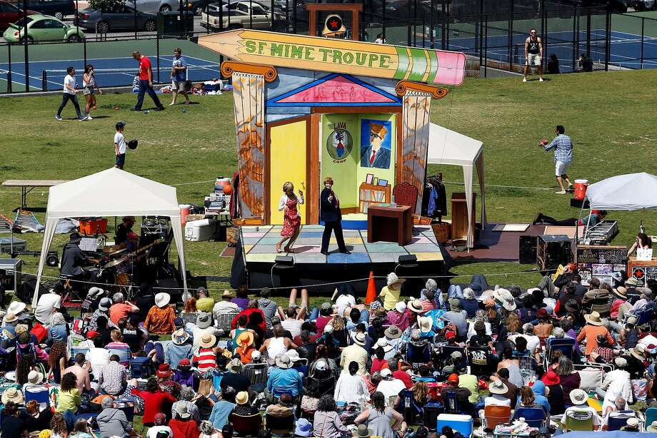 The San Francisco Mime Troupe performs in 2016; it was singled out by Breitbart. Photo: Connor Radnovich, The Chronicle