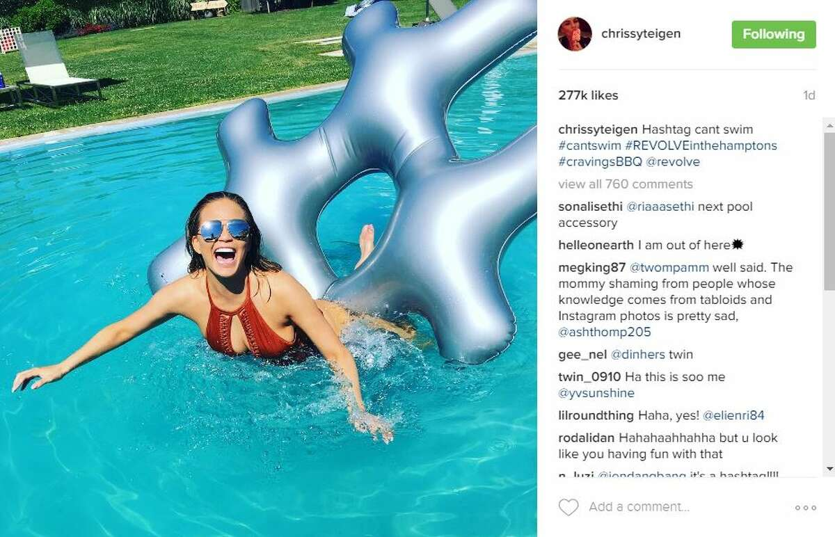 Chrissy Teigen had the time of her life at her Revolve party in the Hamptons on July 4, which called for fun at the pool and barbecue.