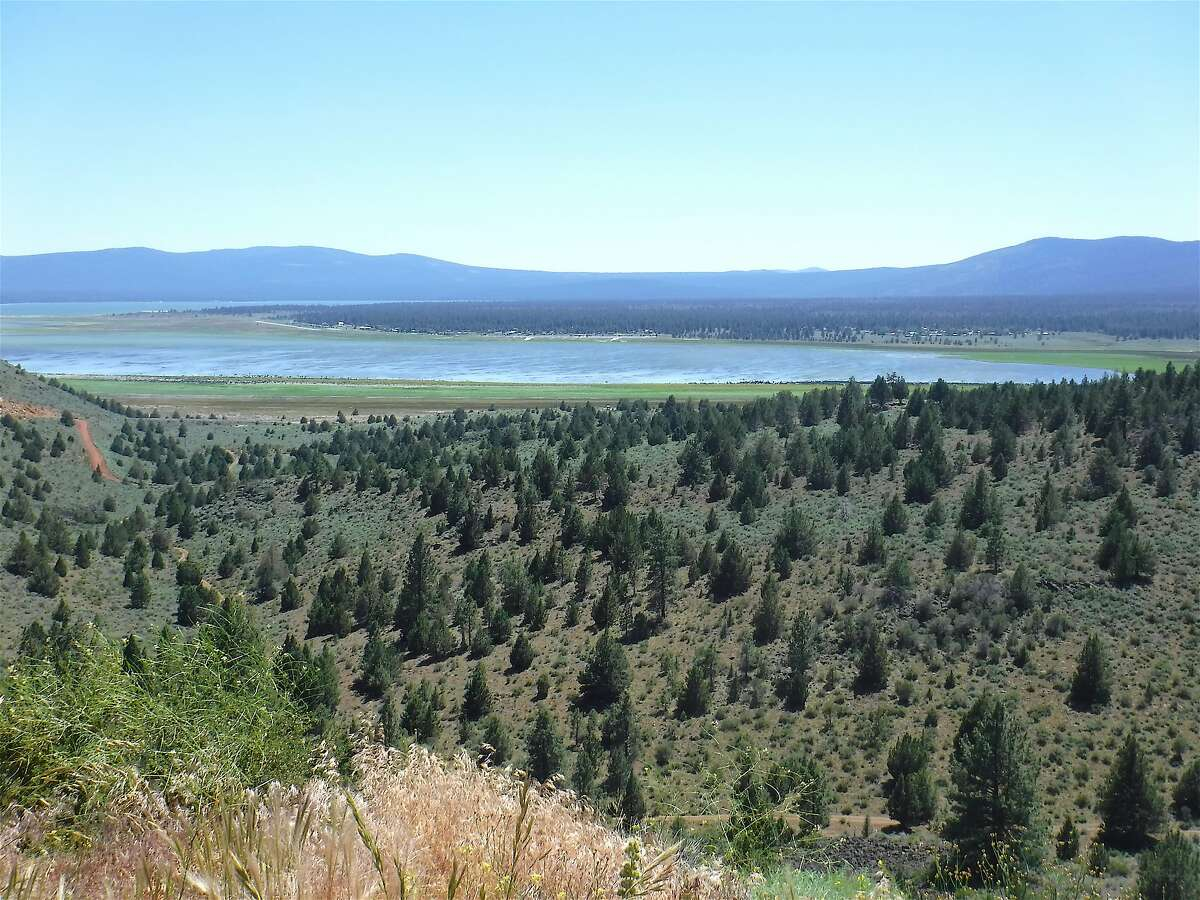 An overview of Eagle Lake in remote Northeastern California. While hundreds of lakes in California filled this year, Eagle Lake remains low, with major boat ramps far out of the water, miles of exposed lakebed and the once-flourishing Spalding area, with boat ramps and a landing strip, and resorts slowly slipping away, a little bit more each year