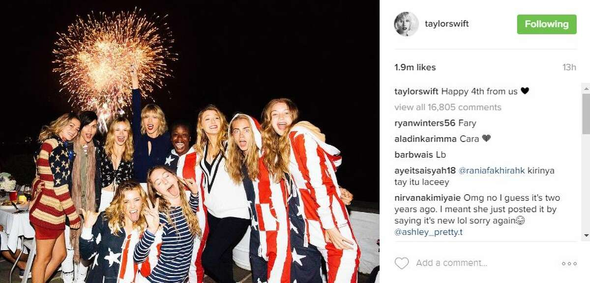 Hollywood's young elite, including Taylor Swift, Blake Lively, Gigi Hadid and Cara Delevingne, spent their Monday catching fireworks in American flag-inspired fashions. Swift captioned this photo with
